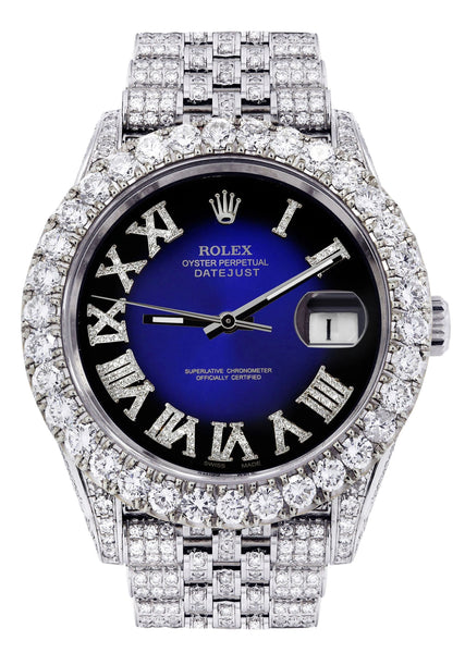 Diamond Iced Out Rolex Datejust 41 | 25 Carats Of Diamonds | Custom Blue Roman Diamond Dial | Jubilee Band