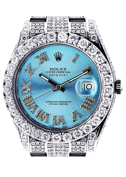 Diamond Rolex Datejust 2 | Stainless Steel | Custom Blue Roman Numeral Dial | 41 MM | 16.55 Carats