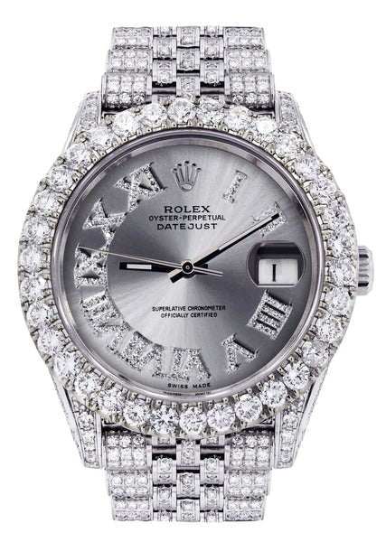Diamond Iced Out Rolex Datejust 41 | 25 Carats Of Diamonds | Custom Silver Roman Diamond Dial | Jubilee Band