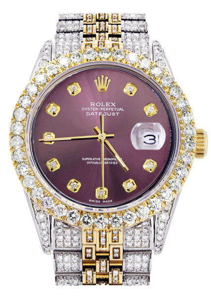 Iced Out Rolex Datejust 36 MM | Two Tone | 10 Carats of Diamonds | Purple Diamond Dial