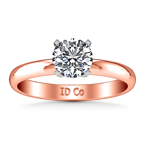 Solitaire Diamond Engagement Ring Comfort Fit Round Diamond 14K Rose Gold