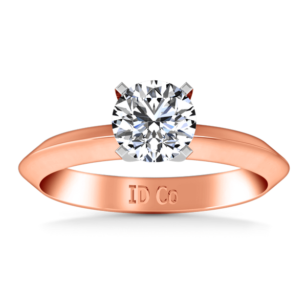 Solitaire Diamond Engagement Ring Knife Edge Round Diamond 14K Rose Gold