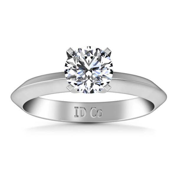 Round Diamond Solitaire Engagement Ring Knife Edge Round Diamond Diamond 14K White Gold