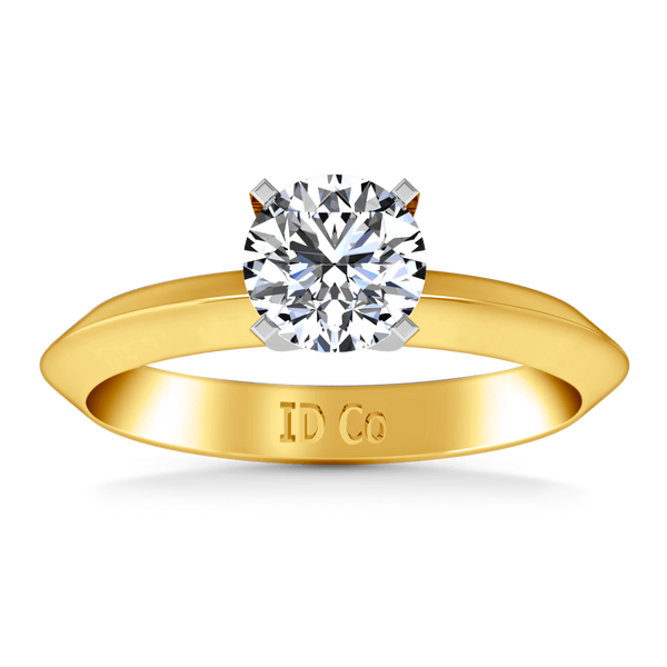 Solitaire Diamond Engagement Ring Knife Edge Round Diamond 14K Yellow Gold