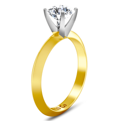 Solitaire Diamond Engagement Ring Knife Edge Round Diamond 14K Yellow Gold engagement rings imaginediamonds