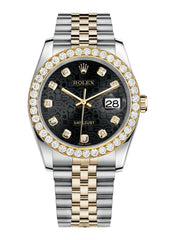Rolex Datejust Black Jubiliee Dial - Diamond Hour Markers With 4 Carats Of Diamonds WATCHES FROST NYC