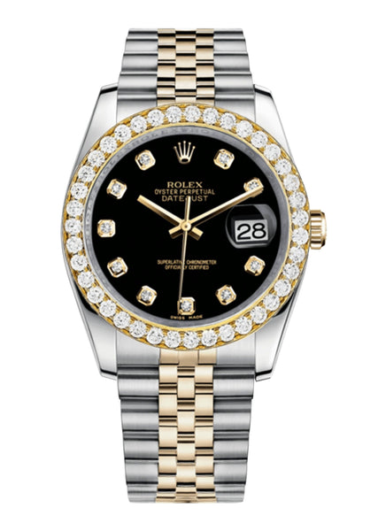 Rolex Datejust Black Dial - Diamond Hour Markers With 4 Carats Of Diamonds