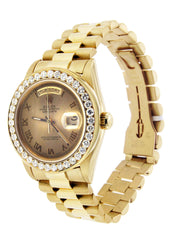 Diamond Rolex Day-Date | 18K Yellow Gold Mens Watch FrostNYC