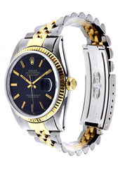 Diamond Rolex Datejust | 18K Yellow Gold and Stainless Steel | Fluted Gold Bezel | 36 MM | Black Stick Dial