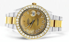 Diamond Rolex Datejust 2 | 18K Yellow Gold & Stainless Steel | Champagne Diamond Roman Dial | 41 MM Mens Watch FrostNYC