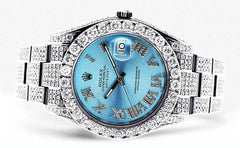 Diamond Rolex Datejust 2 | Stainless Steel | Custom Blue Roman Numeral Dial | 41 MM | 16.55 Carats Mens Watch FrostNYC