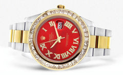 Diamond Rolex Datejust 2 | 18K Yellow Gold and Stainless Steel | Red Diamond Roman Numeral Dial | 41 Mm | 7.75 Carats Mens Watch FrostNYC