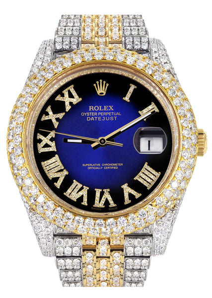 Diamond Iced Out Rolex Datejust 41 | 25 Carats Of Diamonds | Custom Blue Black Roman Numeral Diamond Dial | Two Tone | Two Row | Jubilee Band