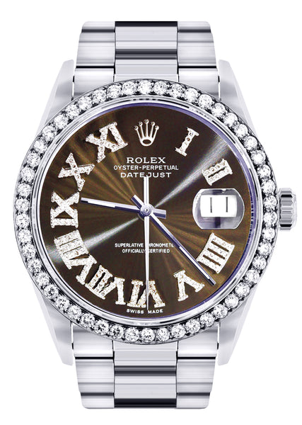 Diamond Mens Rolex Datejust Watch 16200 | 36Mm | Custom Dark Brown Roman Numeral Dial | Oyster Band