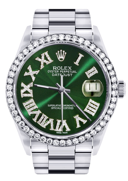 Diamond Mens  Rolex Datejust Watch 16200 | 36Mm | Custom Green Roman Numeral Dial | Oyster Band