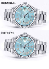 Diamond Mens Rolex Datejust Watch 16200 | 36Mm | Light Blue Roman Numeral Dial | Oyster Band