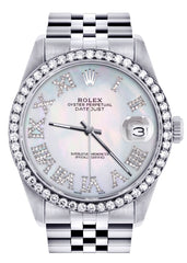 Diamond Mens Rolex Datejust Watch 16200 | 36Mm | Light Blue Mother Of Pearl Roman Numeral Dial | Jubilee Band
