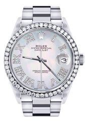 Diamond Mens Rolex Datejust Watch 16200 | 36Mm | Light Blue Mother Of Pearl Roman Numeral Dial | Oyster Band