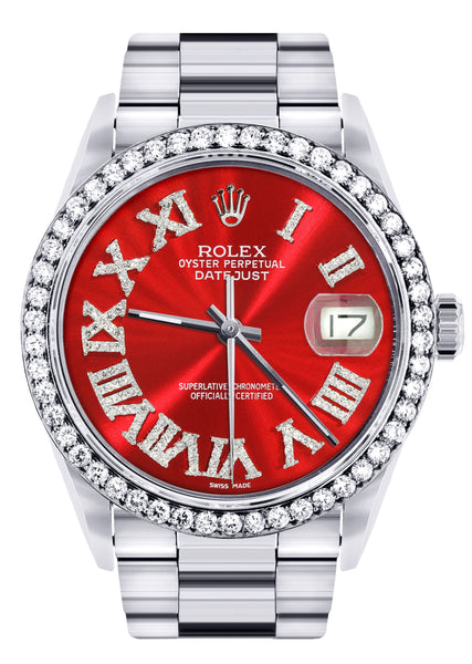 Diamond Mens  Rolex Datejust Watch 16200 | 36Mm | Red Roman Numeral Dial | Oyster Band