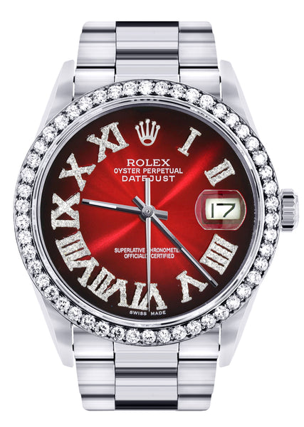Diamond Mens Rolex Datejust Watch 16200 | 36Mm | Red Black Roman Numeral Dial | Oyster Band