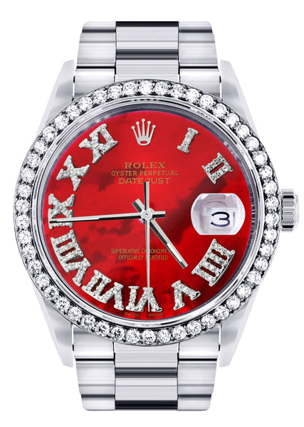 Diamond Mens Rolex Datejust Watch 16200 | 36Mm | Diamond Red Mother Of Pearl Roman Numeral Dial | Oyster Band