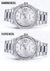 Copy of Diamond Mens Rolex Datejust Watch 16200 | 36Mm | Diamond Rolex Textured Roman Numeral Dial | Oyster Band