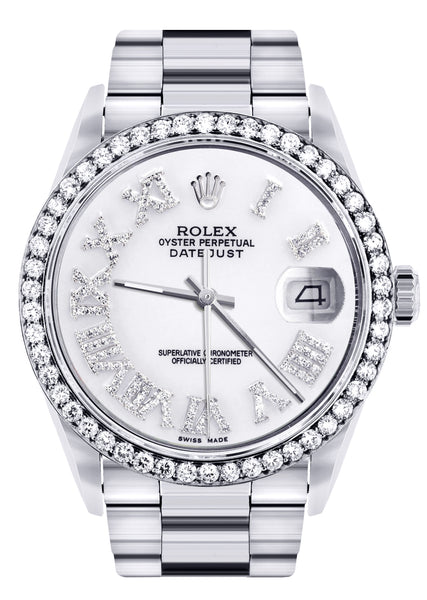 Diamond Mens Rolex Datejust Watch 16200 | 36Mm | White Roman Numeral Dial | Oyster Band