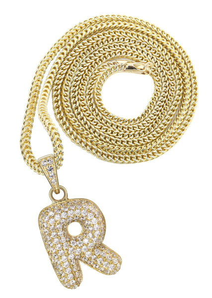 "10K Yellow Gold Franco Chain & Bubble Letter ""R"" Cz Pendant 