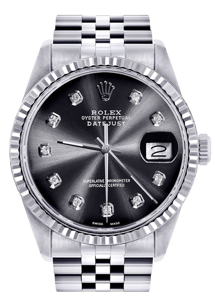 Mens Rolex Datejust Watch 16200  | 36Mm | Chrome Dial | Jubilee Band