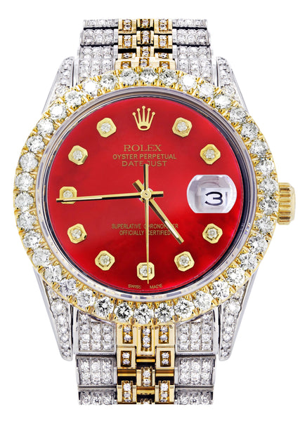 Iced Out Rolex Datejust 36 MM | Two Tone | 10 Carats of Diamonds | Red Diamond Dial