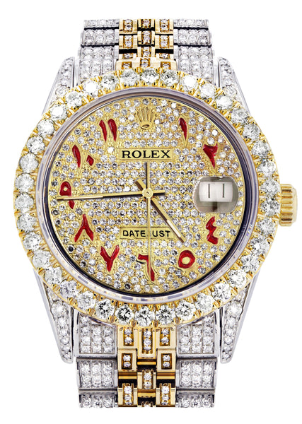 Iced Out Rolex Datejust 36 MM | Two Tone | 10 Carats of Diamonds | Full Diamond Arabic Dial