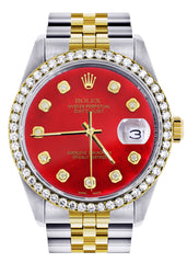Gold & Steel Rolex Datejust Watch | 36Mm | Diamond Red Mother Of Pearl Dial | Jubilee Band CUSTOM ROLEX FrostNYC
