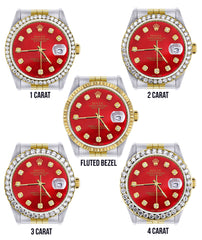 Gold & Steel Rolex Datejust  Watch | 36Mm | Diamond Red Mother Of Pearl Dial | Jubilee Band
