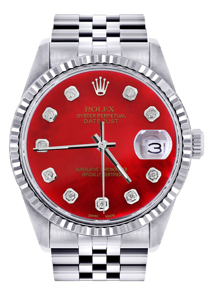 Mens Rolex Datejust Watch 16200  | 36Mm | Red Dial | Jubilee Band
