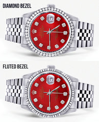 Diamond Mens Rolex Datejust Watch 16200 | 36Mm | Red Diamond Dial | Jubilee Band