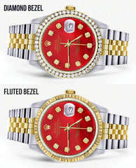 Gold & Steel Rolex Datejust Watch 16233 for Men | 36Mm | Diamond Red Mother Of Pearl Dial | Jubilee Band
