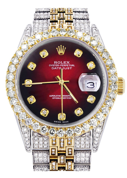 Iced Out Rolex Datejust 36 MM | Two Tone | 10 Carats of Diamonds | Red Black Diamond Dial
