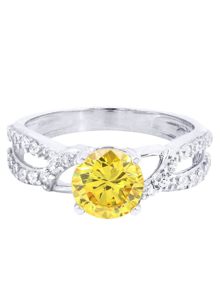 Citrine & Crystal Promise Ring 10K Gold | 2.6 Grams