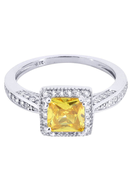 Citrine & Crystal Promise Ring 10K Gold | 2.7 Grams