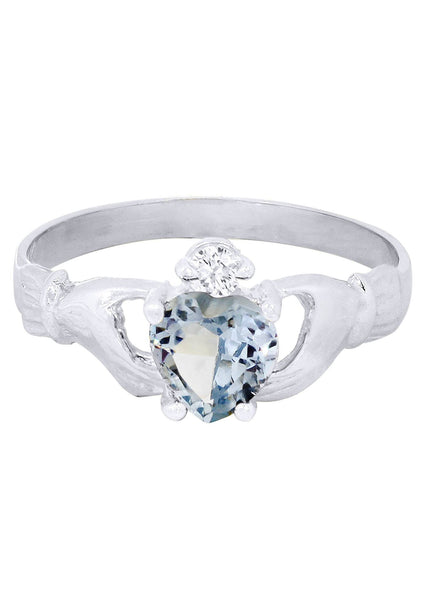 Aqua Marine & Crystal Promise Ring 10K Gold | 1.6 Grams