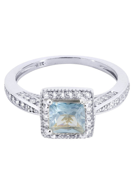 Aqua Marine & Crystal Promise Ring 10K Gold | 2.8 Grams