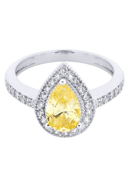 Citrine & Crystal Promise Ring 10K Gold | 3.3 Grams