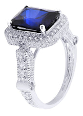 Sapphire & Crystal Promise Ring 10K Gold | 4.7 Grams