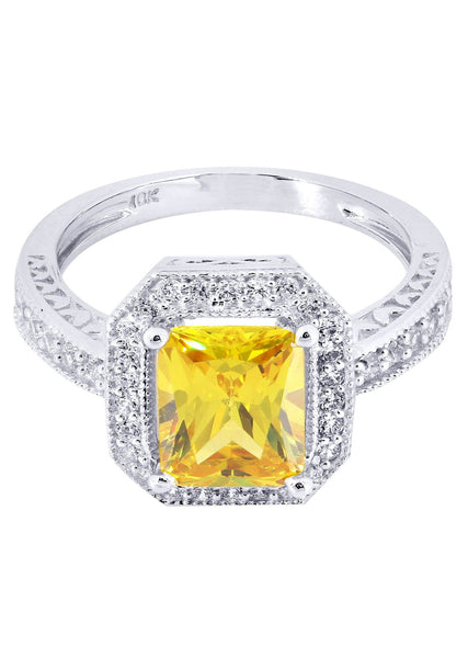 Citrine & Crystal Promise Ring 10K Gold | 4.2 Grams
