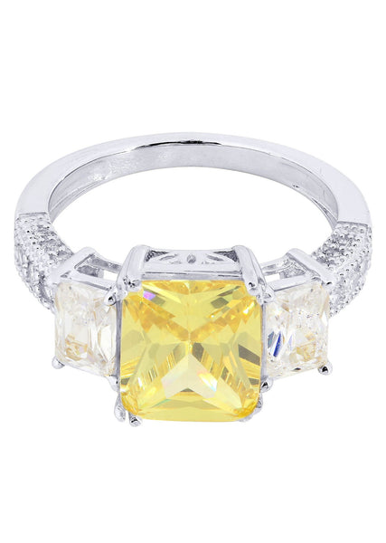 Citrine & Crystal Promise Ring 10K Gold | 4.7 Grams