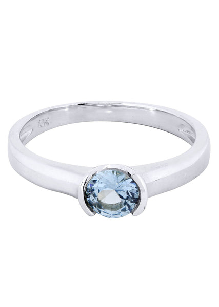 Aqua Marine Promise Ring 10K Gold | 1.9 Grams