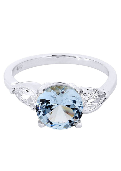 Aqua Marine & Crystal Promise Ring 10K Gold | 3.1 Grams