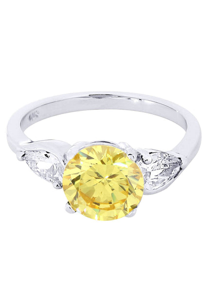 Citrine & Crystal Promise Ring 10K Gold | 4.3 Grams