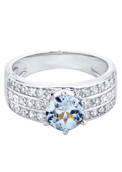 Aqua Marine & Crystal Promise Ring 10K Gold | 4.3 Grams