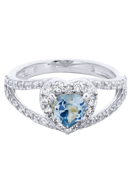 Aqua Marine & Crystal Promise Ring 10K Gold | 3.2 Grams